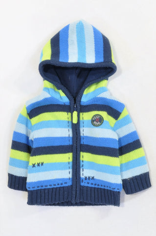 Woolworths Blue & Green Striped Knit Lined Jersey Jacket Boys 3-6 months