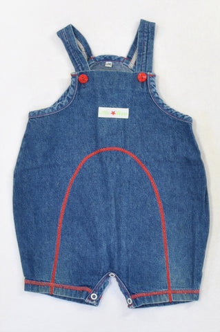 Woolworths Denim Red Trim & Stitch Dungarees Boys 3-6 months