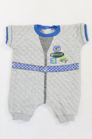 Woolworths Grey Quilted Blue Trim Fast Car Romper Boys 3-6 months