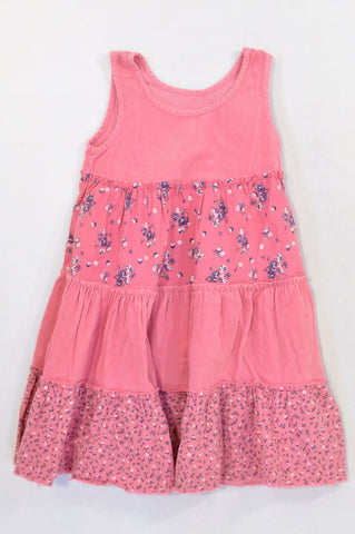 Woolworths Pink Corduroy Panel Floral Dress Girls 3-4 years