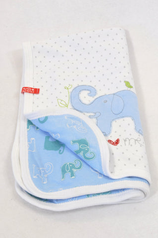 Keedo White Dotty & Blue Elephant Reversible Blanket Boys N-B to 1 year