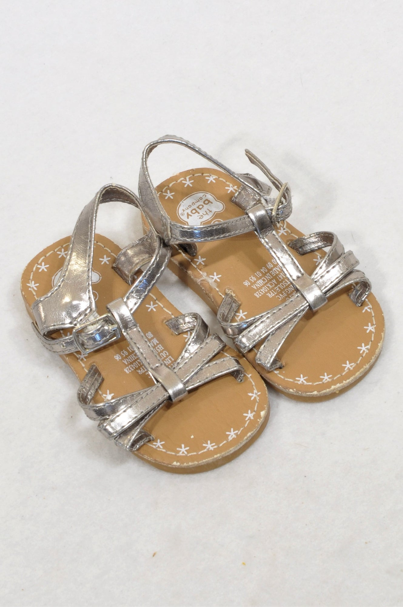 Ackermans Size 3 Pewter Metallic Buckle Sandals Girls 9-12 months