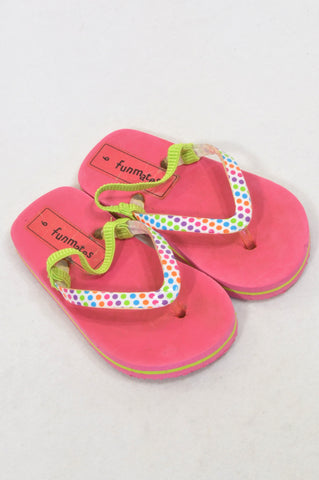 Woolworths Size 9 Pink & Dotty Strap Flip Flops Girls 3-4 years
