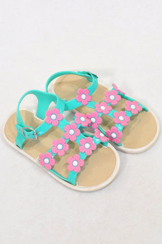 Lollipop Size 9 Aqua & Pink Floral Strap Sandals Girls 3-4 years
