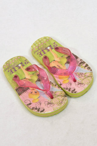 Woolworths Size 10 Pixie Perfect Tinkerbell Flip Flops Girls 3-4 years