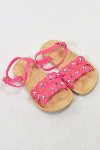 Lollipop Size 9 Pink Floral Strap Sandals Girls 3-4 years