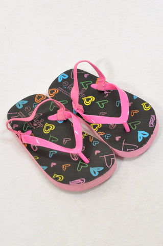 Lollipop Size 8/9 Pink Strap Black Sole Hearts Flip Flops Girls 2-4 years