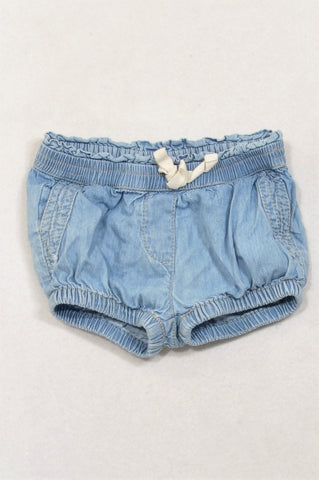 Country Road Light Denim Bubble Shorts Girls 3-6 months