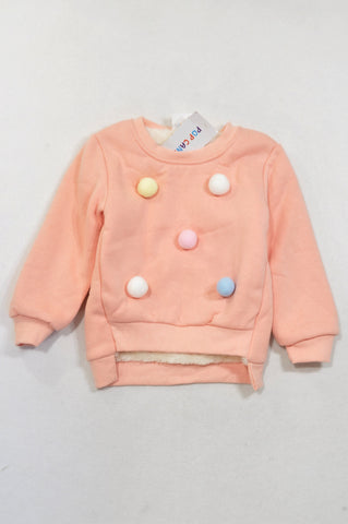 New Pop Candy Peach Bauble Detail Faux Fur Lined Pull Over Top Girls 4-5 years