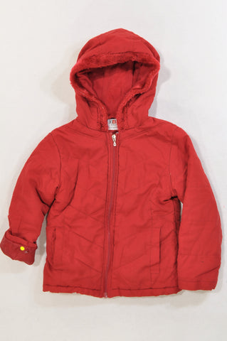 Edgars Red Padded Fleece Lined Coat Girls 5-6 years