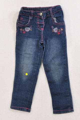 QTee Embroidered Hearts Dark Stone-Washed Tapered Jeans Girls 2-3 years