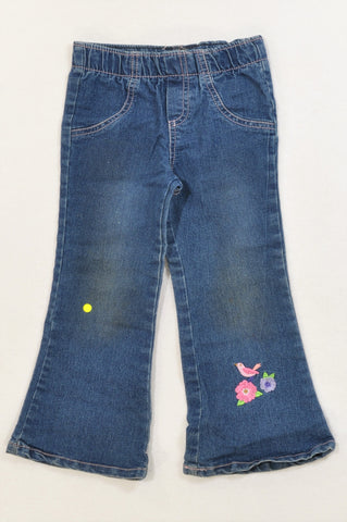 QTee Elasticated Band Embroidered Hummingbird Glitter Stretch Flare Jeans Girls 2-3 years