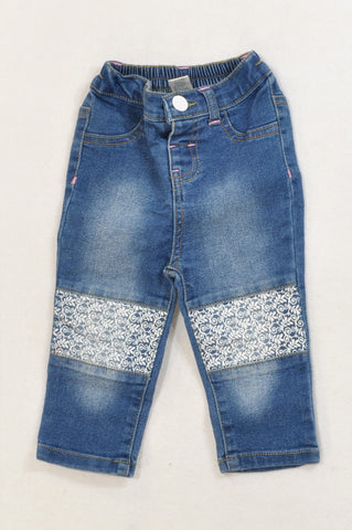 Ackermans Painted Leaf Knee Patch Stone Washed Stretch Jeans Girls 6-12 months