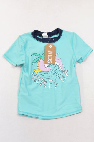 New Cotton On Aqua Surfs Up Rash Vest Unisex 6-7 years