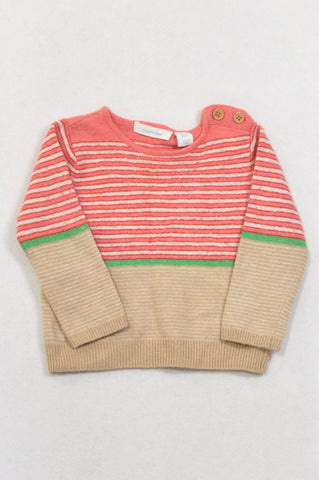 Country Road Coral Stripe Beige Panel Knit Jersey Girls 6-12 months