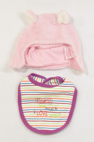 Edgars Pink Fleece Ears Beanie & Guess How Much I Love You Bib Girls 3-6 months