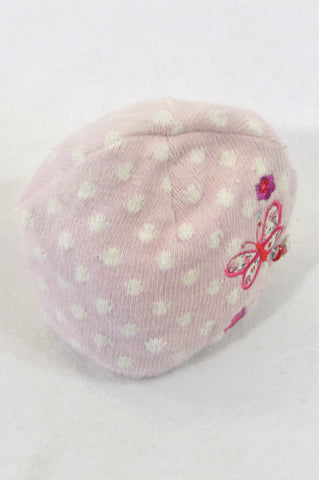 Angel Accessories Pink Dotty Butterfly Knit Beanie Girls 3-9 months