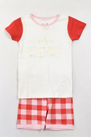 New Cotton On Beige & Red Plaid Dec 25th Morning Person Summer Pyjamas Girls 5-6 years