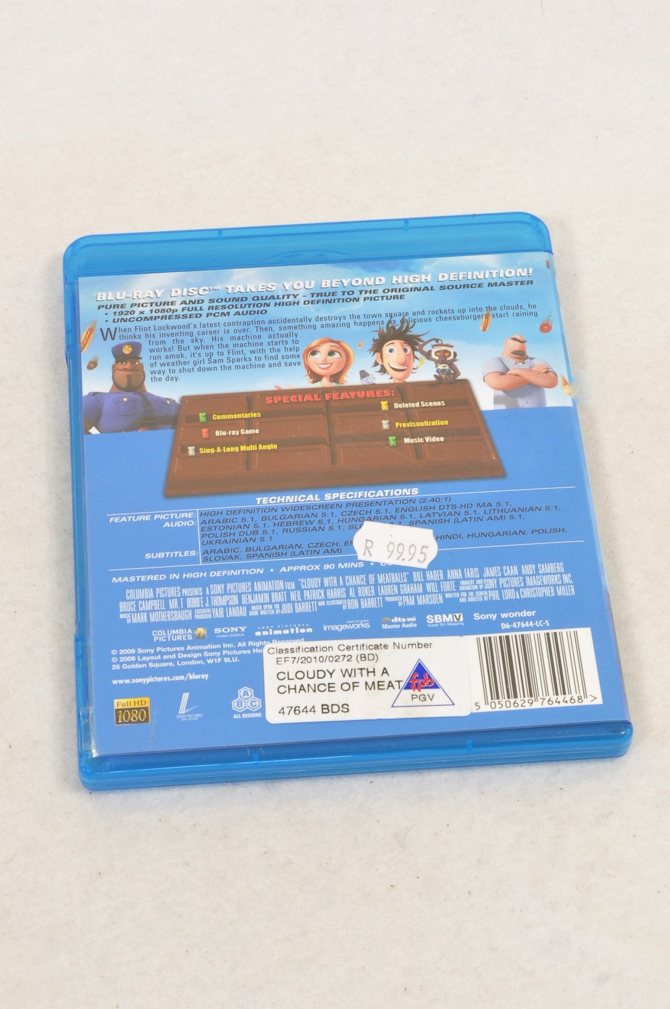 Unbranded Cloudy With A Chance Of Meatballs Blu Ray Kids DVD Unisex 3-10 years