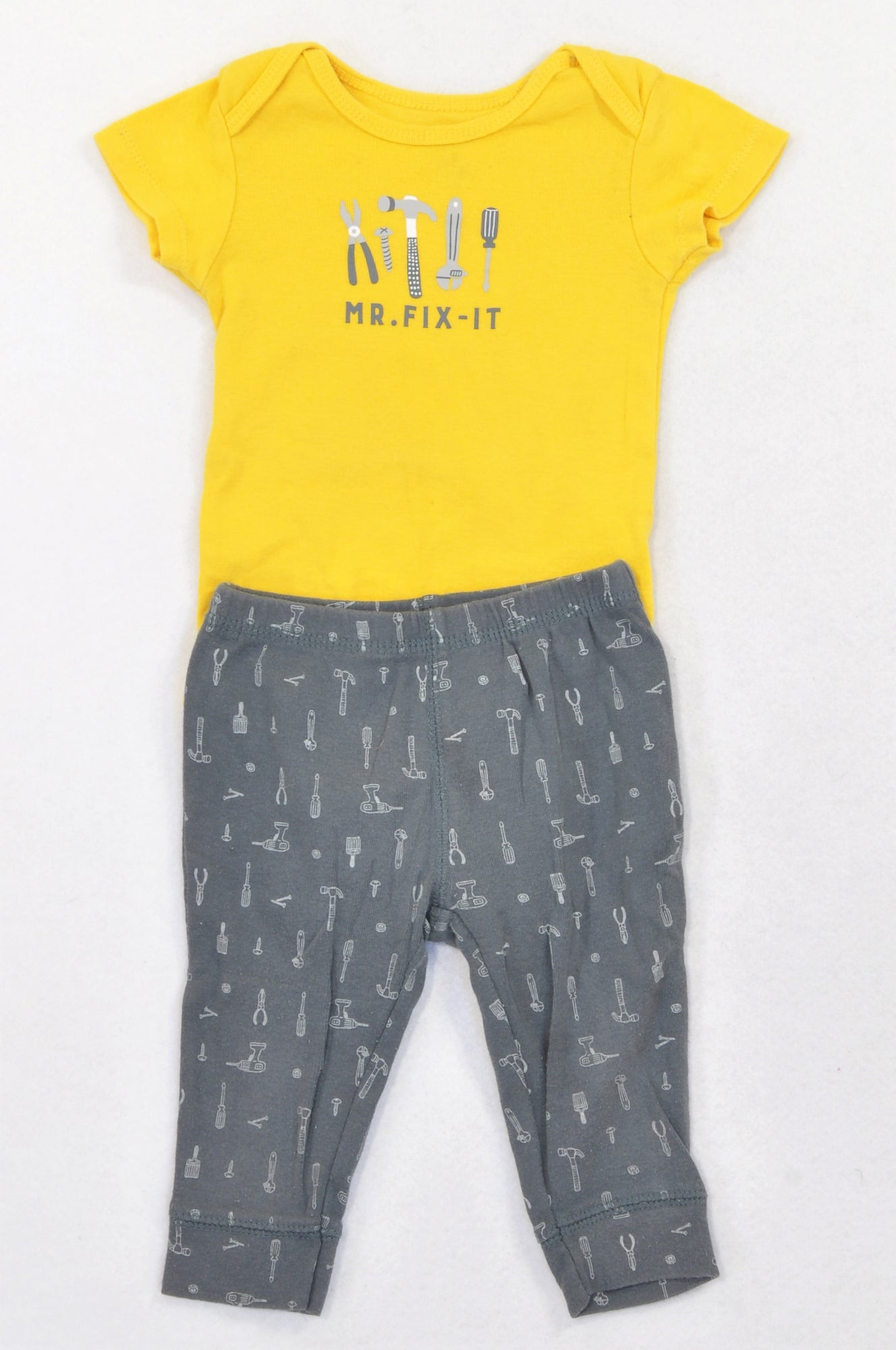 Carter's Yellow & Charcoal Mr Fix It Outfit Boys 3-6 months