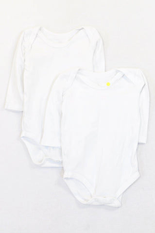 Woolworths 2 Pack Basic White Long Sleeved Baby Grows Unisex 3-6 months