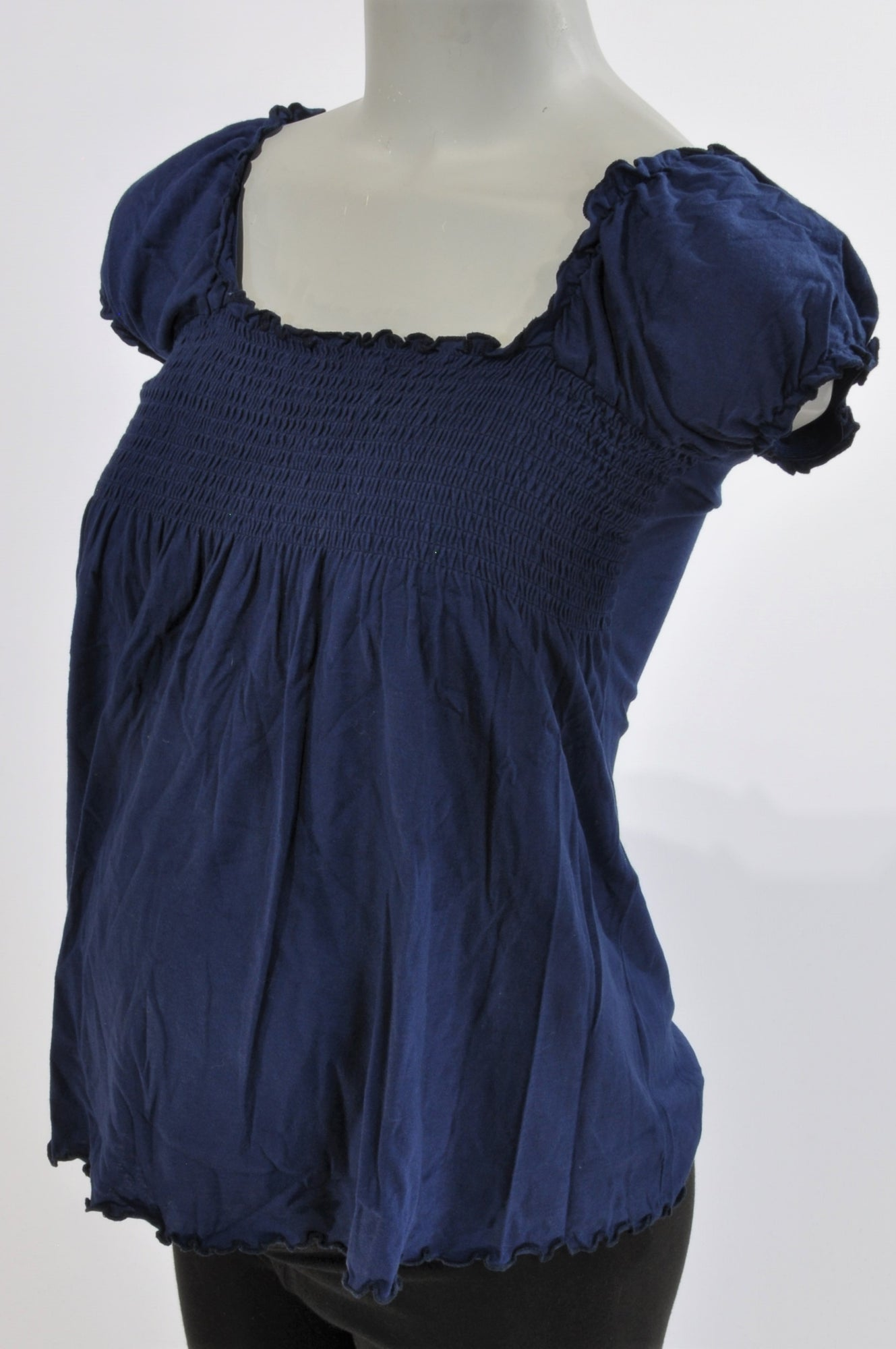 News Navy Frill Lace Detail Maternity Blouse Size 10
