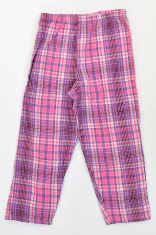 Woolworths Pink Plaid Lounge Pants Girls 4-5 years