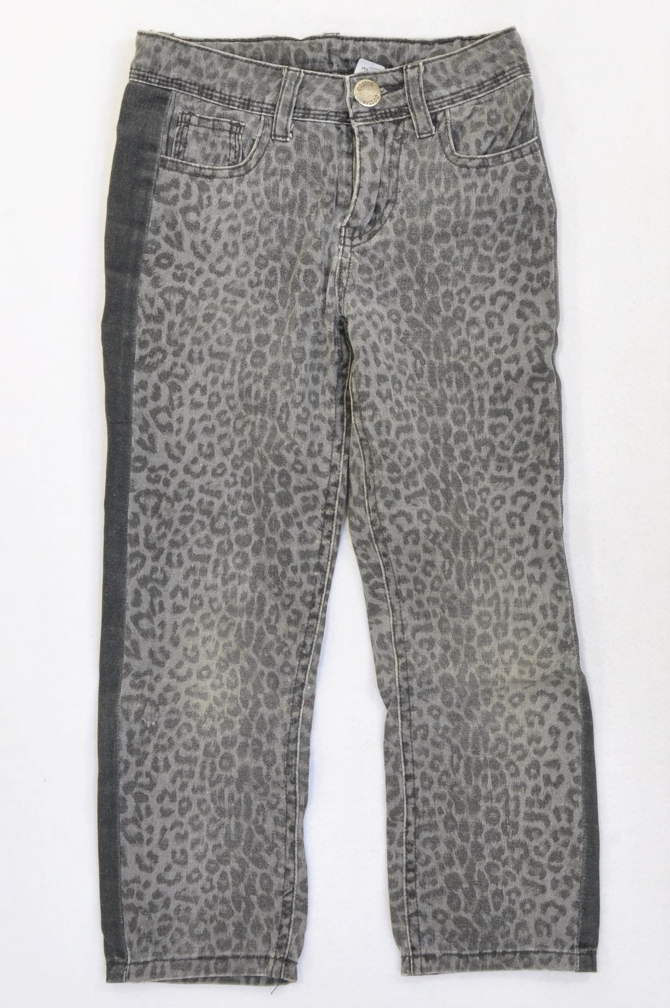 Gossip Dark Grey Animal Print Straight Leg Jeans Girls 5-6 years