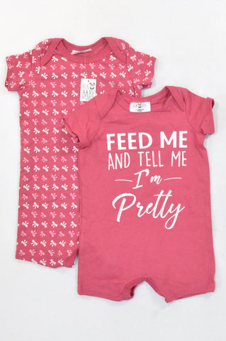New Pick 'n Pay 2 Pack Dusty Pink Pretty & Bows Rompers Girls 0-3 months