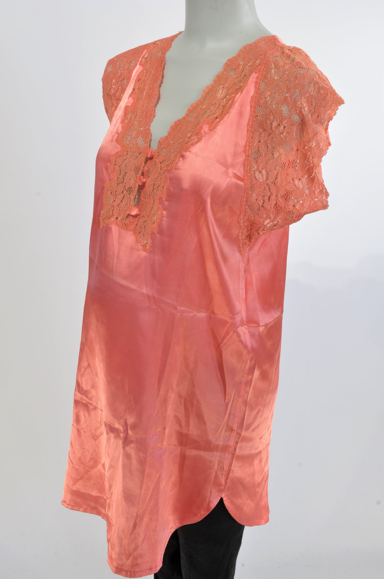 Unknown Brand Orange Sateen Lace Detail Maternity Nighty Size 10