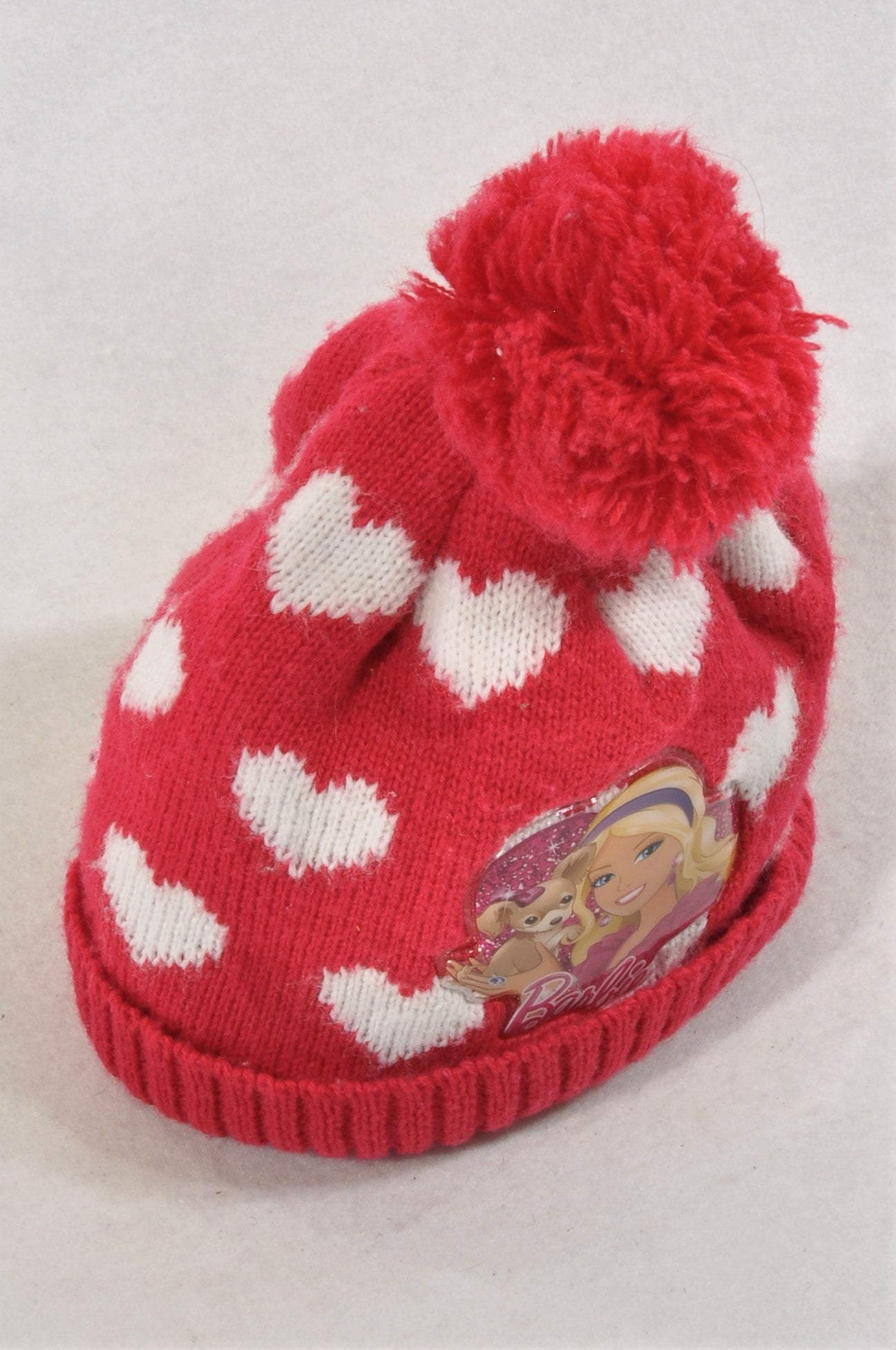 Woolworths Pink Knit Heart Barbie Beanie Girls 6-12 months