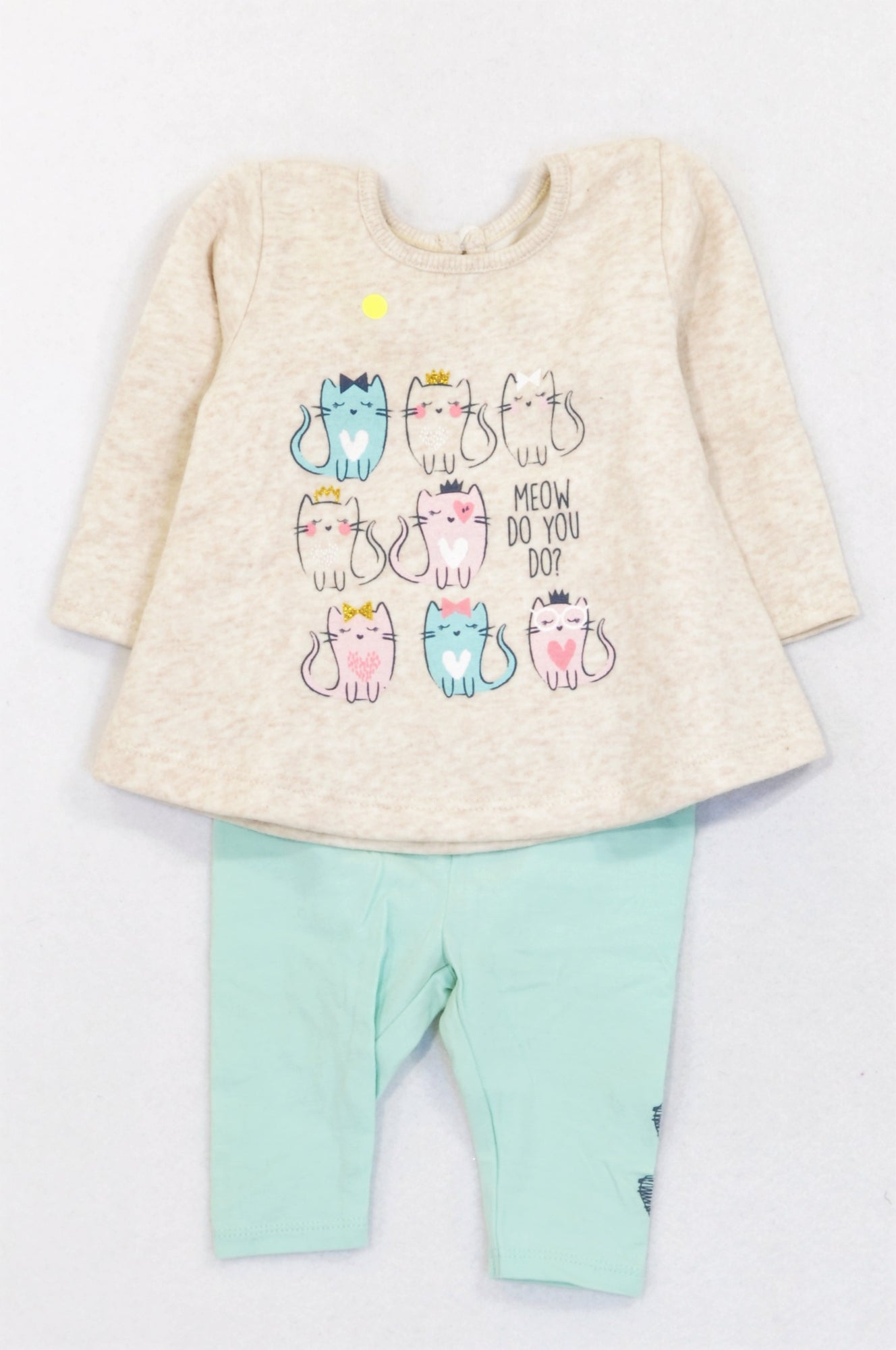 Woolworths Beige & Aqua Meow Do You Do Outfit Girls 0-3 months