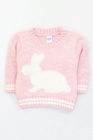 Ackermans Pink & White Bunny Jersey Girls 0-3 months