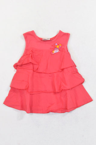 Keedo Coral Layered Embroidered Butterfly Tank Top Girls 18-24 months