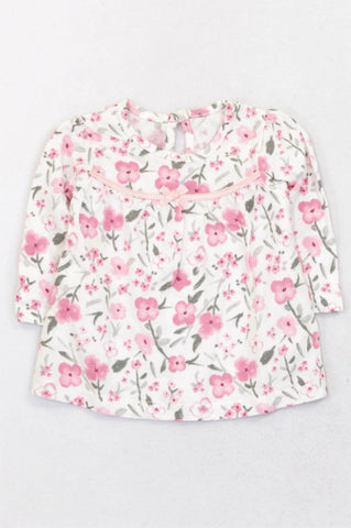 George Pink & Grey Floral Bow T-shirt Girls 0-3 months
