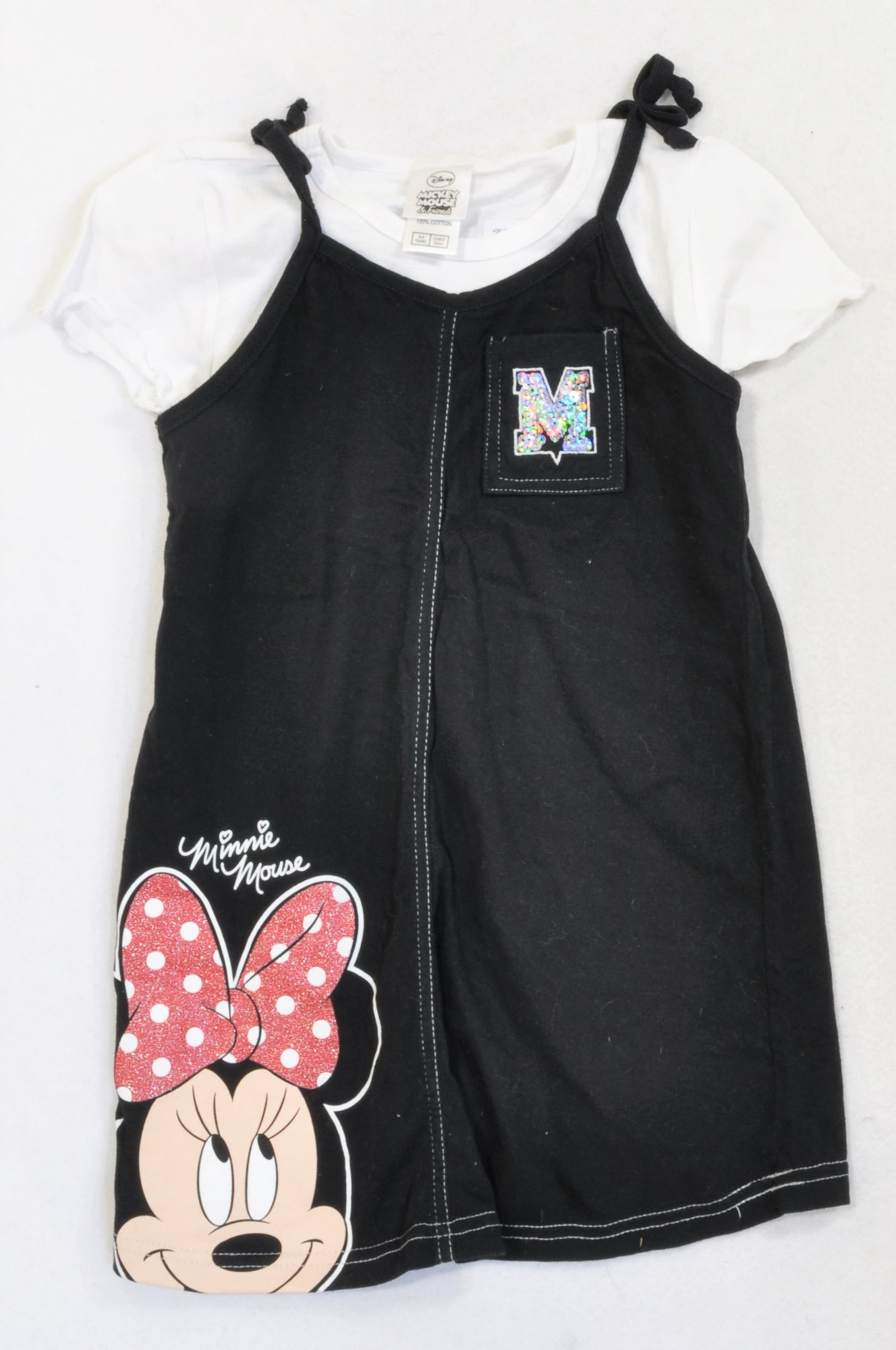 Disney Black White Minnie Mouse T Shirt Dress Outfit Girls 4 5