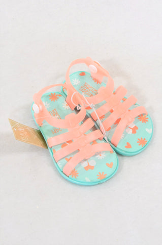 New Pick 'n Pay Size 4 Coral & Aqua Sandals Girls 18-24 months