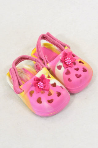 New Unbranded Size 1 Pink & Yellow Bow Sandals Girls 3-6 months