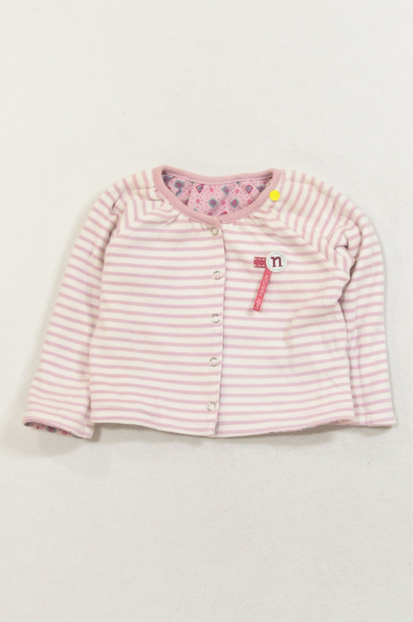 Naartjie Purple Ditsy Print Purple Stripe Reversible Cardigan Girls 3-6 months