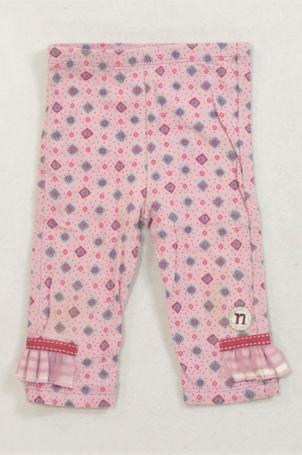 Naartjie Pink Ditsy Flower Frill Trim Lace Detail Pants Girls 3-6 months