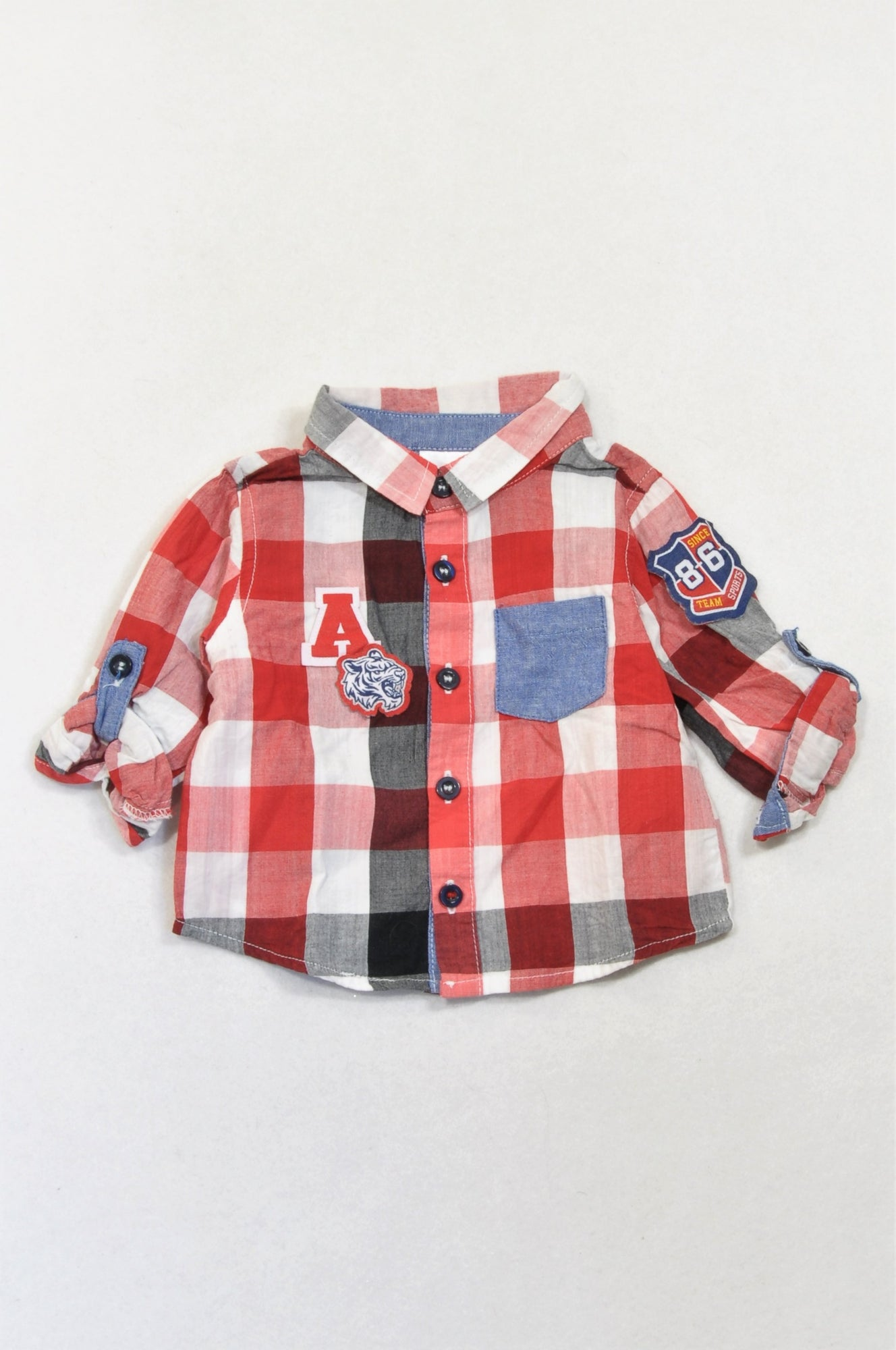 Edgars Red & Navy Check A Shirt Boys 3-6 months