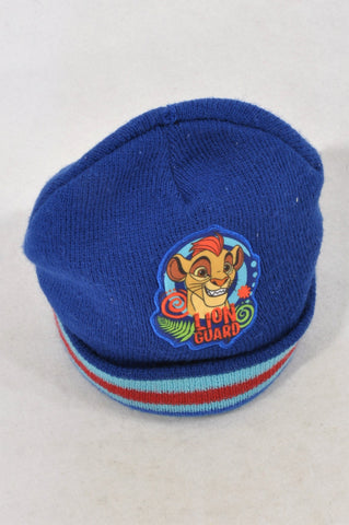 Disney Blue Red Stripe Lion Guard Beanie Unisex 3-4 years