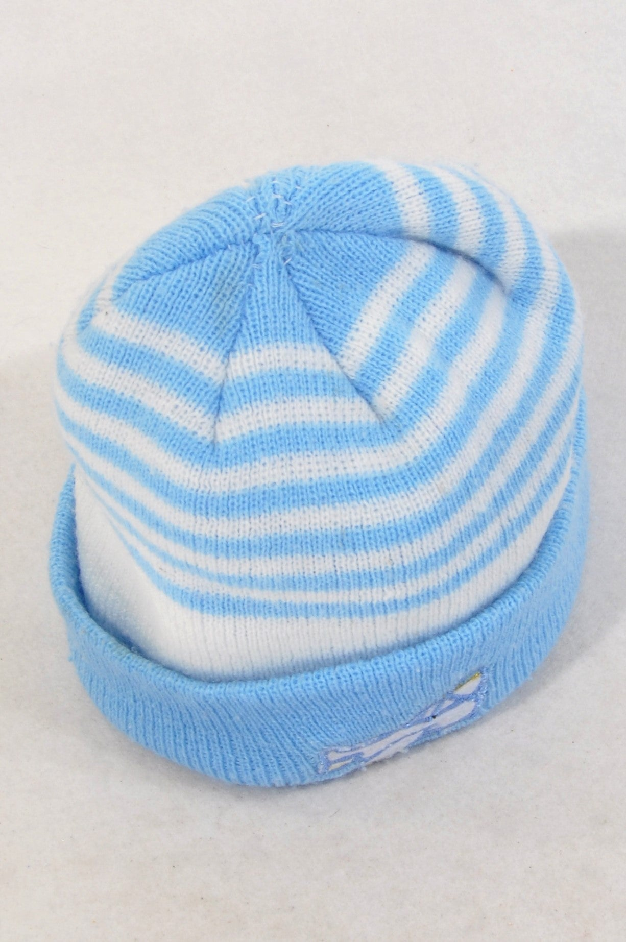 Unbranded Light Blue Stripe Aeroplane Knit Beanie Boys 2-4 years
