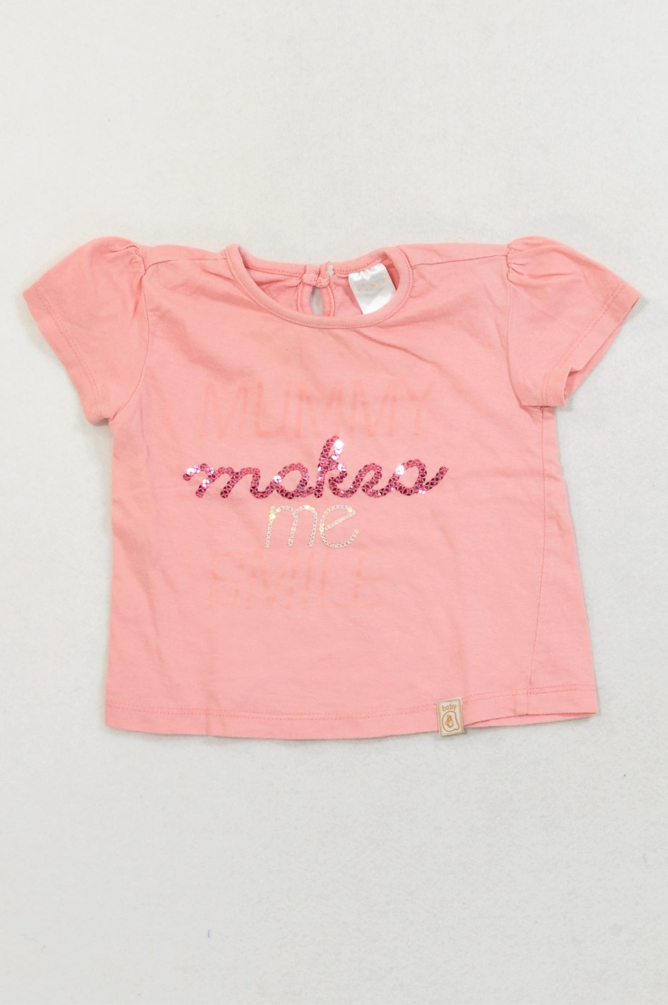 Ackermans Pink Mummy Make Me Smile T-shirt Girls 6-12 months