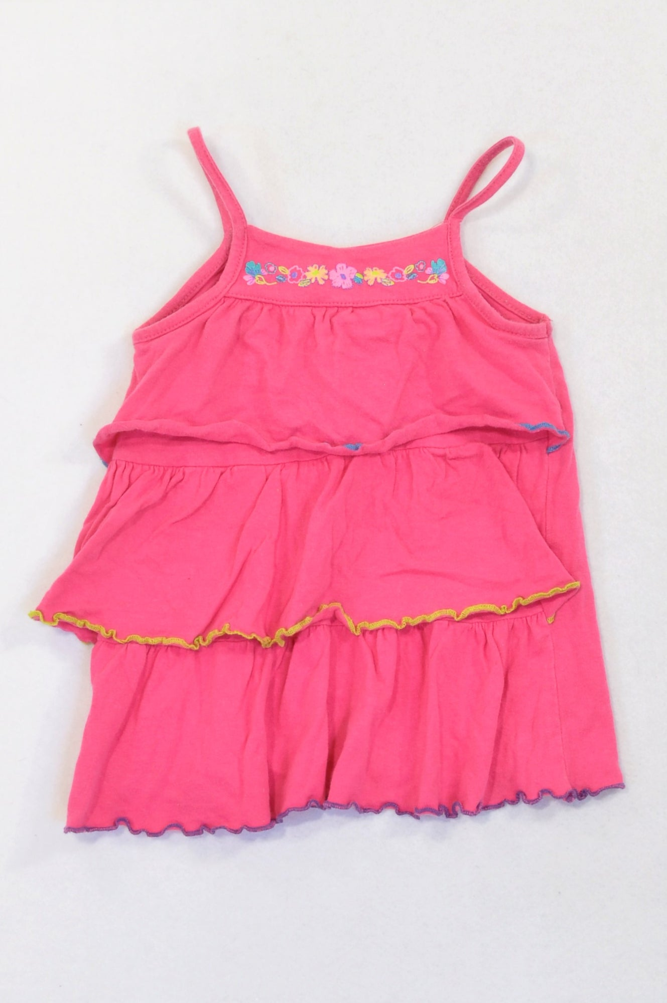 Edgars Pink Frill Flower Tank Top Girls 12-18 months