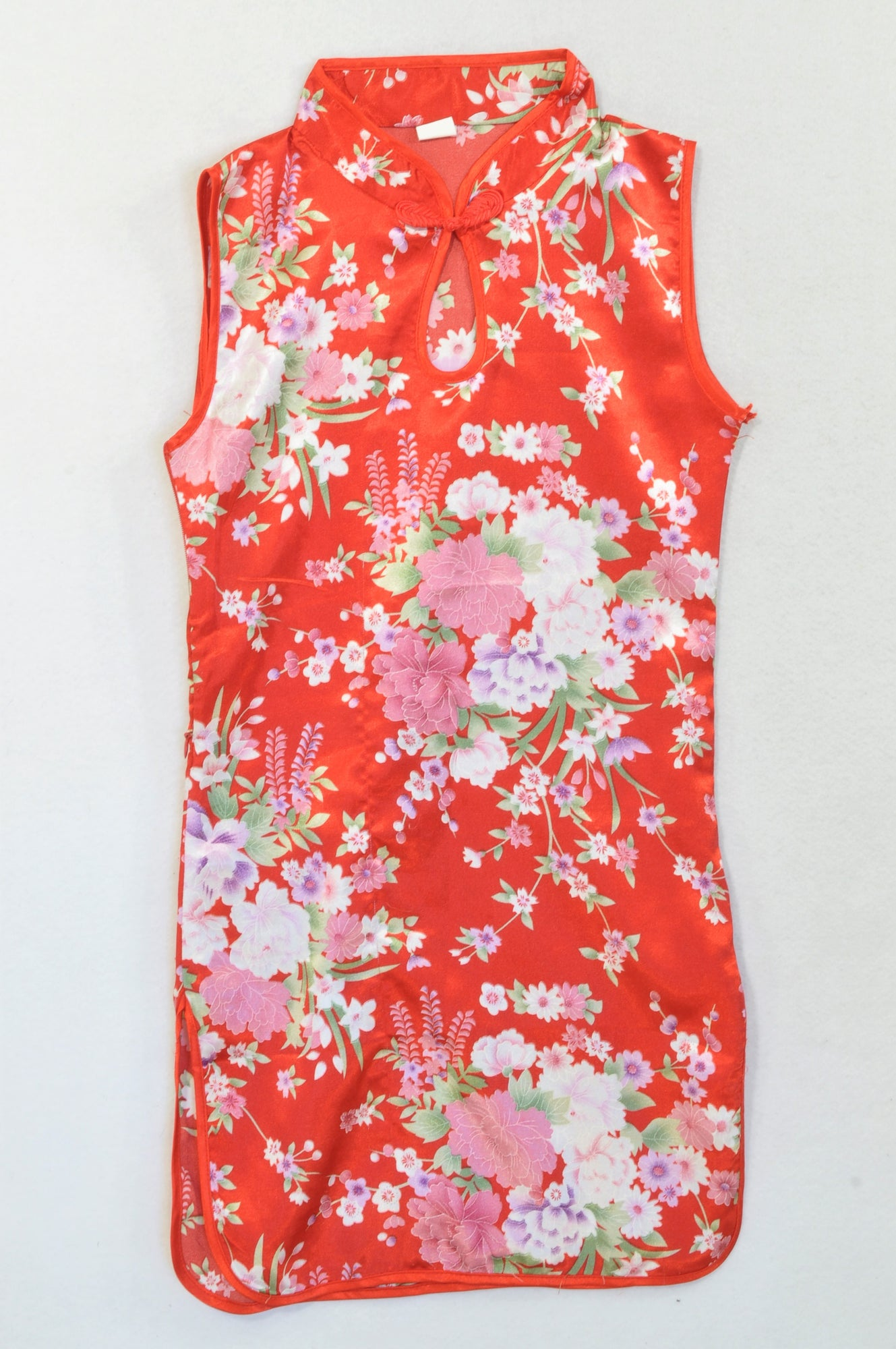 Wudemei Red Traditional Floral Dress Girls 7-8 years