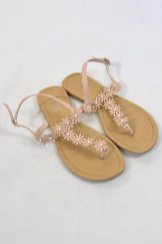 Primark Size Y6 Beige Flower Sandals Girls 11-15 years