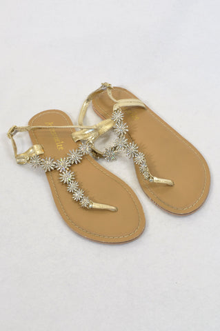 Accessorize Size Y5 Gold Studded Sandals Girls 11-15 years