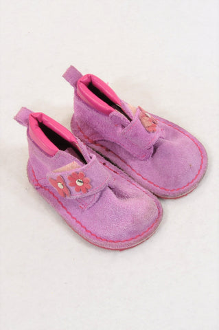 Ackermans Size 1 Pink Flower Vellie Shoes Girls 3-6 months