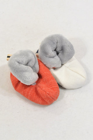 Unbranded Size 1 Cream & Red Fur Lined Booties Unisex 3-6 months